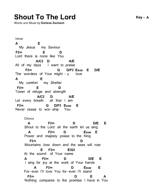 Shout To The Lord Chords Pdf Dolapgnetband